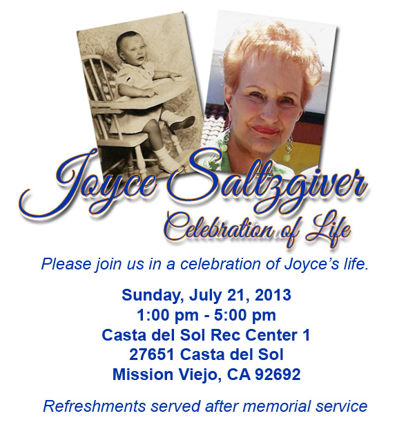 Joyce Saltzgiver - Celebration of Life